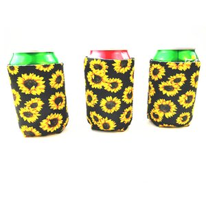 Wholesale Sun Flower Mug Sleeve Pop Top Can Tumbler Cover Diving Material Insulated Cooler Sets Yellow Black Fashion nya C1