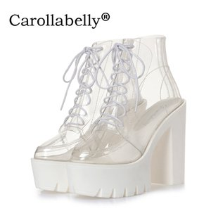 Wholesale super high heels thick soles bottom clear transparent ankle boots female Platform Autumn boots casual shoes