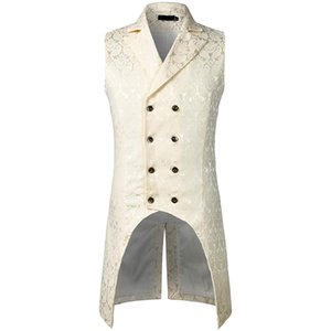 Wholesale Mens Gothic Steampunk Vest Double Breasted Sleeveless Jacquard Tailcoat Medieval Victorian Cosplay Dress Vest Stage Costume XXL