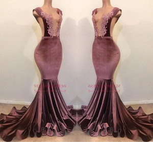 Wholesale Velvet Lace Beaded Mermaid Evening Dresses 2019 Charming Sexy V Neck Backless Sheath Formal Party Gown Prom Pageant Dresses BC1199