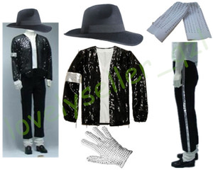 Wholesale Mens MJ Michael Jackson Billie Jean Suits Sequin Jacket Pants Hat Glove Socks Kids Adults Show Black Sequined Pacthwork XS XL