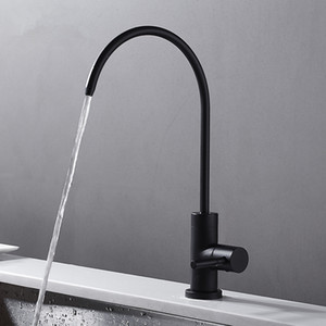 Matte Black stainless steel Drinking Tap RO Lead Free Beverage Faucet Drinking Water Filtration System 1 4-Inch Tube