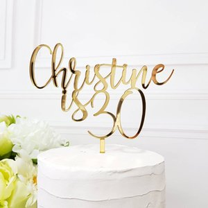 Wholesale Personalized Name Birthday Cake Topper Custom Age Cake Topper Unique Gold Silver Acrylic Wooden Party Decor For Birthday