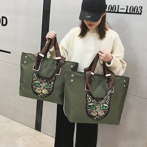 Wholesale 2019 big size nylon Sequin cat print handbags women large capacity shopping Tote bag luxury designer zipper crossbody bag M490