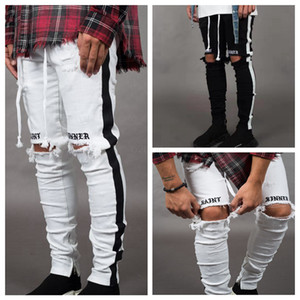 Wholesale boy jeans for sale - Group buy Mens Designer Ripped Jeans Hole Distressed striped Zipper Jeans Trousers Slim Hip Hop Biker Denim Pants Skinny LJJA2543