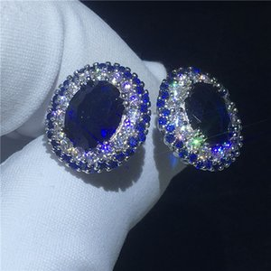 Wholesale Royal Princess Earring Blue A cz White Gold Filled Engagement wedding Stud Earrings for women Best Gift