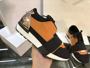 Wholesale HOT Black leather fabric sneakers Top Luxury Quality Designer Low Top women Shoes Casual Kanye West Style Race Runner Mesh Breathable35