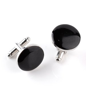 New Designers Fashion Classic Mens Buttons Cufflinks Enamel Black White Round Business Casual Shirt Cuff Links Luxury Jewelry on Sale