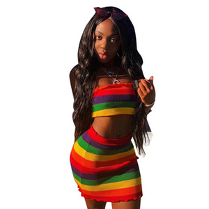 Wholesale Rainbow Print Sexy Piece Set Women Slash Neck Crop Top and Mini Skirt NightClub Wear Outfits Set Ladies Suit