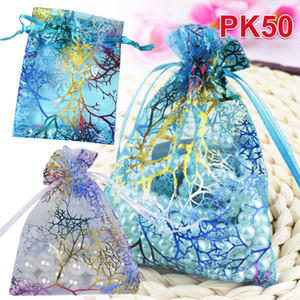 Wholesale 50pcs x9 CM Small Organza Bags Candy Jewelry Packaging Bags Wedding Decoration Christmas Gift Bag Pouches