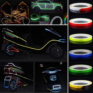 Wholesale 8m Pvc Car Rim Luminous Funny Car Styling DIY Stickers Wireless Reflection Reflective Tape Wheel Warning Decals
