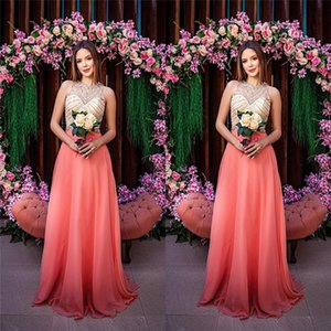 Long Jewel Sleeveless Aline Chiffon Prom Dresses Special Occasion Dresses Beads Long Party Dresses custom made on Sale