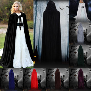 Wholesale Halloween Hooded Cloak Velvet Witches Princess Death Long Cape For Women Men Adult Kids Cosplay Costumes Party Props Outwear Fancy Dress