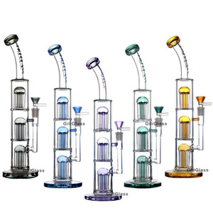 Triple tree perc filter glass heady 15.5 inches tall bong dab rig water pipe smoking oil rigs with quartz banger wax hookahs