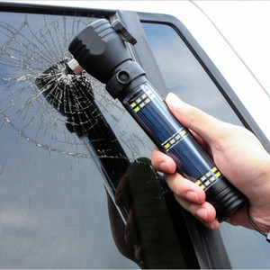 Wholesale Solar rechargeable flashlight LED lamp outdoor multi functional broken window hammer mobile phone charging alarm rescue USB car