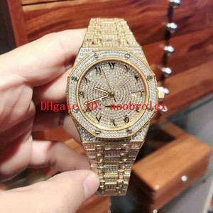 Wholesale WX Factory Royal Oak Watch Swiss Automatic Movement vph k Gold L Stainless Steel Full Diamond Sapphire Crystal Folding buckle