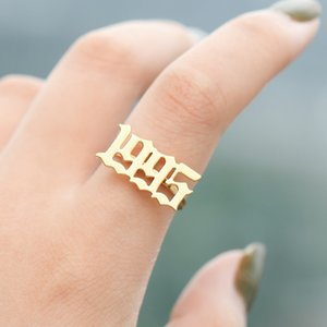 Wholesale Stainless Steel Number Rings for Women Anillos Mujer Gold Ring Men Bague Femme Year Number Ring BFF