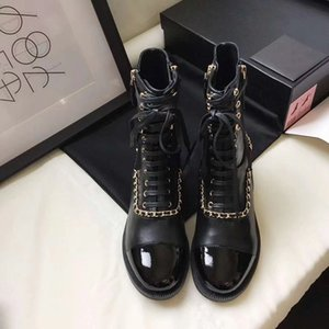 Wholesale Classic Stitching Chain Shoes Chains Laces Double Zippers Mid barrel Low heel Leather Martin Boots