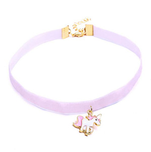 Wholesale New Fashion Colorful Ribbon Enamel Little Horse Unicorn Choker Necklace Charm Pendant For Girl Women Kids Animal Cartoon jewelry