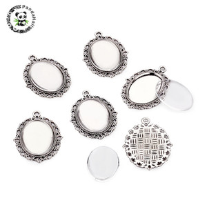Wholesale 10set Pendant Setting Oval Cabochon Base With Flat Back Clear Dome Glass Cabochon For Necklace Jewelry Making x28mm PANDAHALL