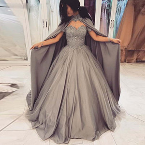 prom machen großhandel-2019 Grau Ballkleid Ballkleider mit Cape weg von der Schulter Appliques Sequined Make Up Kleider Puffy Rock Falte Festzug Kleid