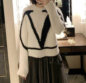 Wholesale 117 Women s autumn winter ladies cashmere sweater new fashion letter jacquard round neck long sleeved sweater female high end hot sale