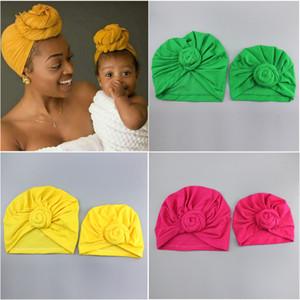 Wholesale New Parent child knotted cotton caps kids designer hats Headbands hat Bandanas baby girl hair accessories children turban cap