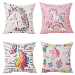 Wholesale 45x45CM Cartoon Unicorn Pillow Case Childlike Rainbow Cute Print Cushion Cover Decorative Throw Pillowcase Car Sofa Home Decor