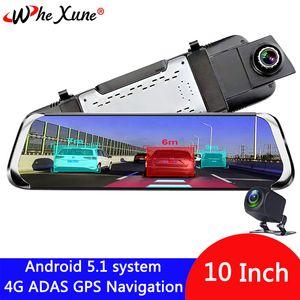 "WHEXUNE 4G 10"" IPS Android 5.1 Car DVR Camera ADAS mirror Dash cam Video Recorder Full HD Rear View Mirror WiFi GPS registrar"