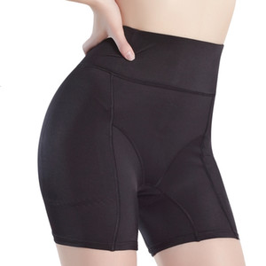 Wholesale Womens Hip Booster Fake Ass Underwear Butt Lifter Enhancer Buttock Boxer High Waist Plus Size Safety Padded Panty Girdle Black SH190905