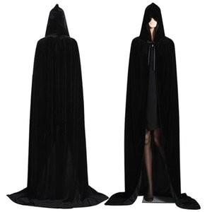 Wholesale Gothic Hooded Stain Cloak Wicca Robe Witch Larp Cape Women Men Halloween Costumes Vampires Fancy Party Props