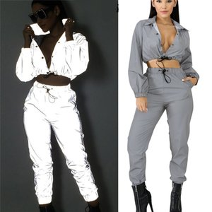Wholesale Women yoga Nightclub Date Pants M Reflective Women Crop Tops Pants Sets Two Piece Jumpsuit Playsuit Casual Reflective Outfits