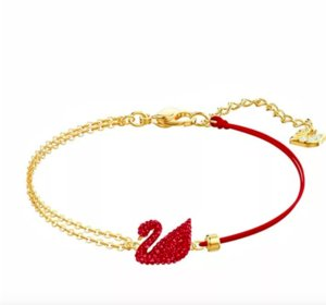 Shijia Red Swan Necklace Female Blue Swan Necklace Red rope Red Bracelet Gradual Swan Clavicle Necklace