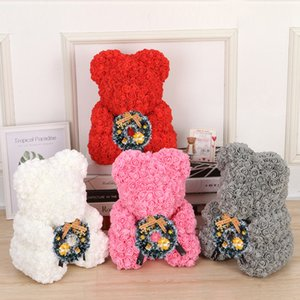 Wholesale Christmas Gift cm Red Bear Rose Artificial Soap Roses Teddi Bear Eternal Rose Flower Valentine Garland Gift Girl Friend Love