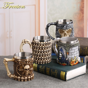 Wholesale Coolest Gothic Skull Resin Stainless Steel Beer Mug Dragon Knight Tankard Halloween Coffee Cup Christmas Tea Mug Pub Bar Decor C19041302