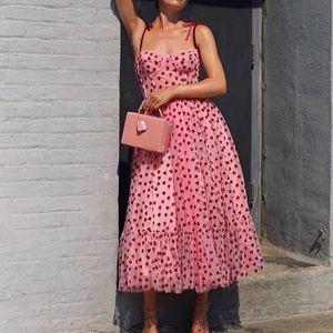 Bow Tied Strap Mesh Dress Women Spaghetti Strap Midi Party Dress Summer 2020 Elegant Ladies Casual Dresses MX200518