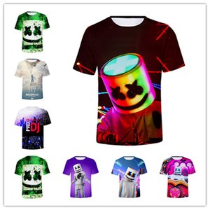 Wholesale S XL DJ Marshmello D Printed Face Design T Shirt Women Men Summer Short Sleeve Funny Top Tee Unisex Street Cool T Shirts Tracksuit A53004