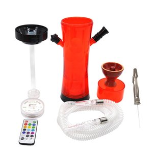 Wholesale New Colorful Acrylic LED Luminous Remote Control One Hose Hookah Shisha Smoking Pipe Innovative Design Portable Ceramic Bowl Hot Cake