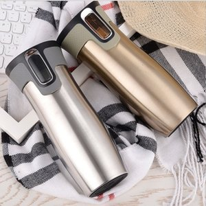 Wholesale 450ml oz AUTOSEAL Vacuum Insulated Stainless Steel Travel Mugs Water Flask Thermal Tea Bottle Auto Cups Factory Directer Sale