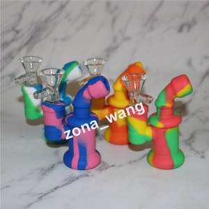 Wholesale sherlock water pipe for sale - Group buy Glass Bong Dab Rig Mini Sherlock bubbler Inch Unbreakable Silicone Bubbler Water Pipe for Wax Oil Dry Herb Bong Smoking Hookah