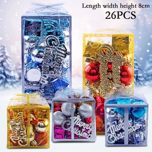 Wholesale 26 Box Glitter Christmas Tree Ball Bauble Luxury Boxed Home Xmas Party Ornament Hanging Decor mm New Year s Ornaments