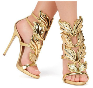 HOT SALE Amazing Lady Angel Wings Black Nude Thin High Heels Sandals Gladiator Rome Wedge Women Golden Leaf Leather Pumps Sandals Shoes