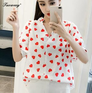 Wholesale Spring Women Chiffon Blouse short Sleeve loose Decoration Pullover Red Heart Print Office Shirt Elegant Ladies Blouse