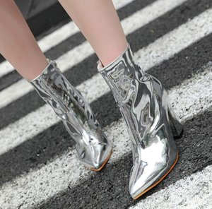 Wholesale Hot Sale Sparkly Silver Pointed Block Heels Ankle Boots Women Designer Shoes Size To