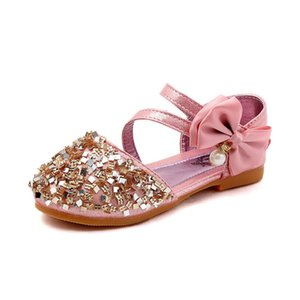 Wholesale 2019 Fashion Girls Sequins Bow Kids Summer Children Leather Casual Princess Flat Heel Party Wedding Shoes Silver Gold Pink