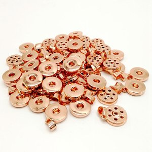 Wholesale Fashion charm Snap button Antique Rose gold metal noosa mm ginger snap Jewelry with chain fit women men gift