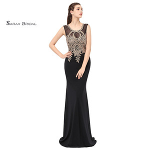 Wholesale Mermaid Lace Beads Sexy Black Prom Party Dresses 2019 Sexy Elegant Vestidos De Festa Evening Occasion Sleeveless Gown LX360