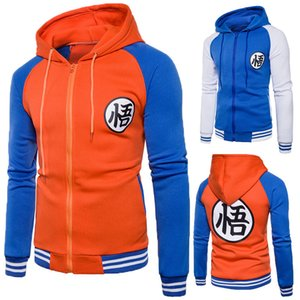 Wholesale Dragon Ball Kakarotto Son Goku hoodie cosplay Chinese characters Wu Printing zipper Sweatshirts Men s casual Hooded sweater