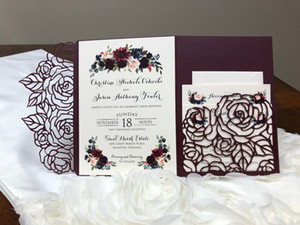 Wholesale laser cut wedding invitation pockets resale online - Hot Sale Plum Rose Trifold Laser Cut Wedding Invitations Pearl Shimmy Pocket Wedding Invite Burgundy Wedding Invitation Jackets with Belt