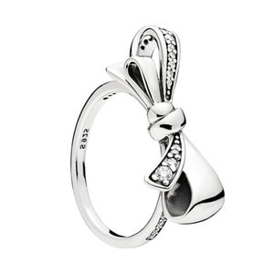 Wholesale Designer jewelry CZ Diamond Bowknot Wedding Rings for Pandora Sterling Silver Fashion Gift Jewelry Bow RING with Original box